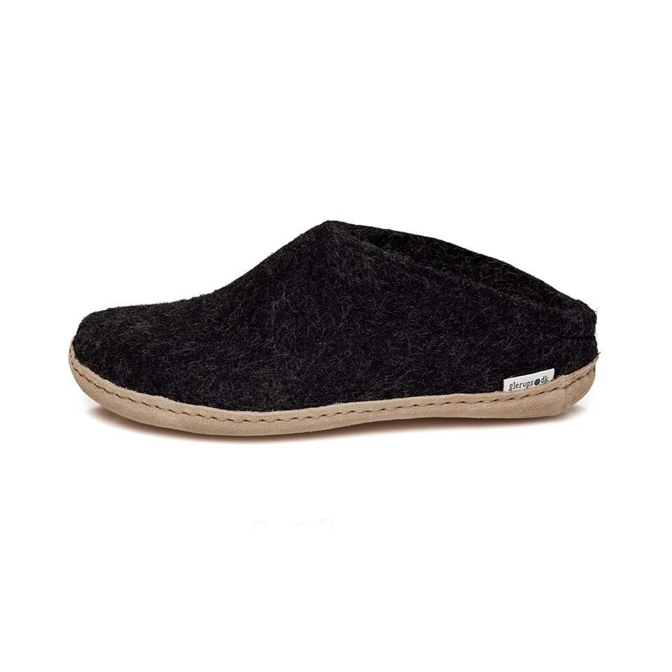Glerup's M's and W's Unisex Open Heel Felt Slipper Charcoal