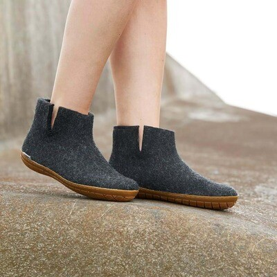 Glerups M's and W's Unisex Felt Slipper Low Boot Charcoal w/Rubber Bottom