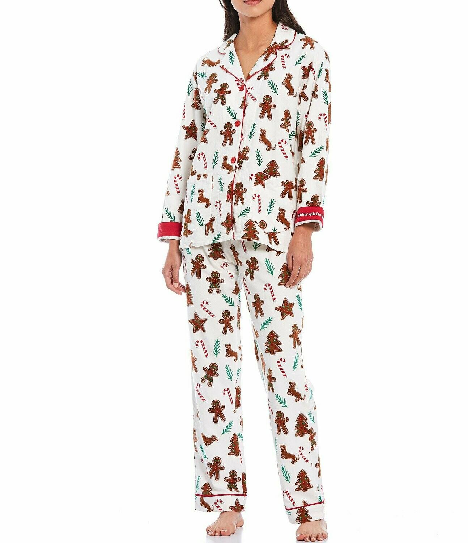 PJ Salvage Gingerbread Flannel Pajama Set