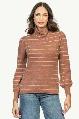 Lilla P Long Sleeve Turtle Neck Maple Stripe