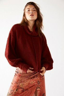 Free People Be Yours Cropped Turtleneck Sweater Sweet Cranberry