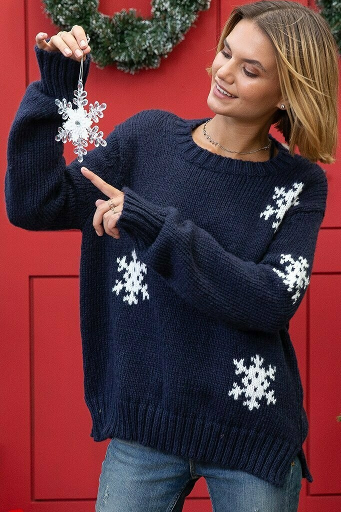 Wooden Ships Snowstorm Crew Sweater Night/Pure Snow