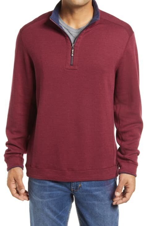 Tommy Bahama Flip Shore Reversible Half Zip Wine/Navy