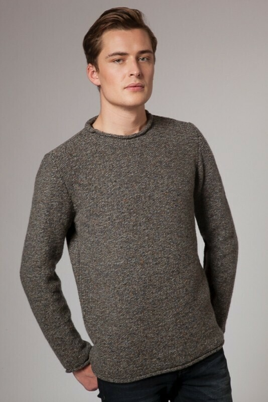 Fisherman Out Of Ireland M's Roll Neck Sweater Smoke