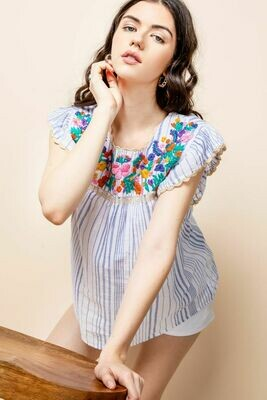THML W's Striped Flutter Sleeve Embroidered Shirt Blue