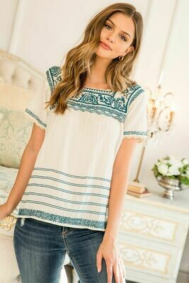 THML Embroidered Sheer Short Sleeve Top Cream/Teal