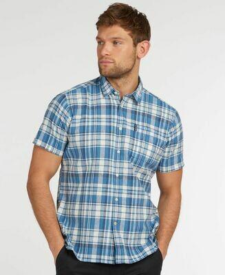 Barbour M's Linen Mix 2 Short Sleeve Shirt Blue
