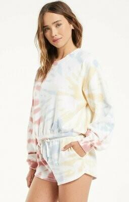 Z Supply Britton Tie-Dye Pullover White