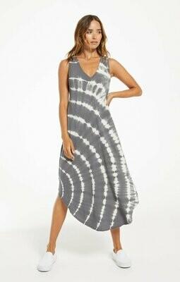 Z Supply Reverie Spiral Tie-Dye Dress Charcoal