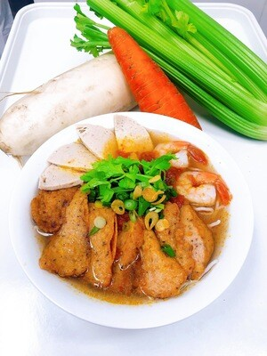 211- Vietnamese Fish Cake, Shrimp, and Sausage with Vermicelli tomato soup