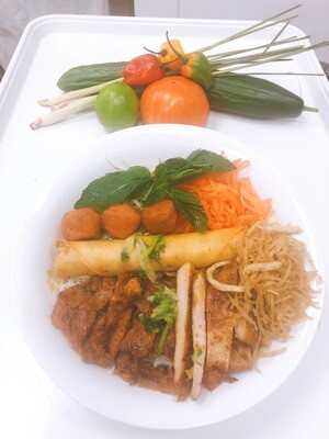 412- Vermicelli with Grilled Pork, Meatballs, Chicken, Spring Roll, and Shredded Pork Skin