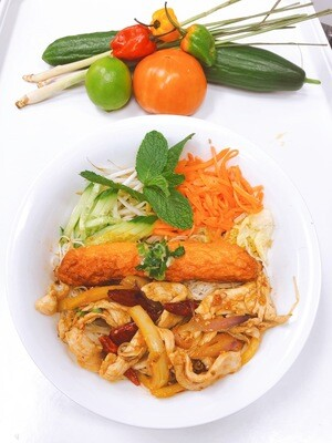 413- Stir Fried Chicken with Lemon Grass and Hot Pepper on Vermicelli (Plus One Item)