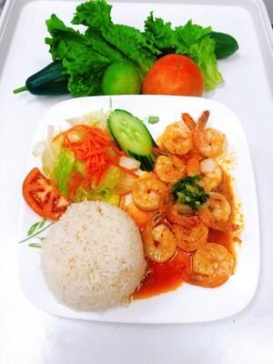 519- Stir Fried Shrimp Butter with Garlic on Steamed Rice