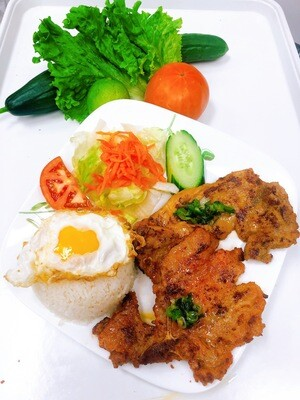 505- Grilled Pork Chop, Chicken, Fried Egg, with Steamed Rice