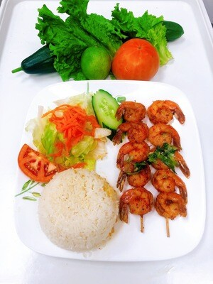510- Grilled Tiger Shrimp (10 pcs) with Satay Sauce on Steamed Rice