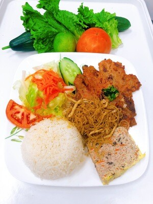 501- Grilled Pork Chop with Steamed Rice (Plus Two Items)