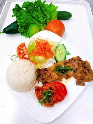 507- Sauteed Jumbo Shrimp (1 pc) on Steamed Rice (Plus One Item)