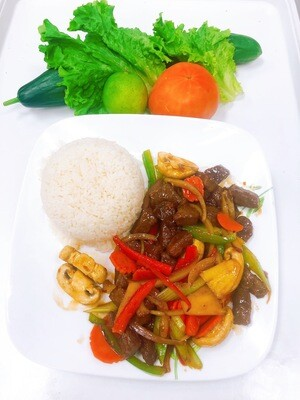 514- Sauteed Marinated Beef Cube on Steamed Rice