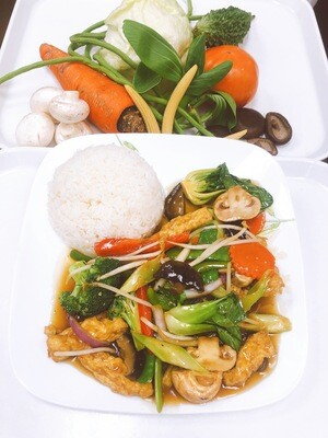 607- Stir Fried Vegetables, Mushrooms, and Tofu with Steamed Rice