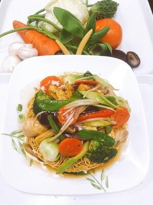 615- Stir Fried Vegetables, Tofu, Mushroom with Crispy Egg Noodle