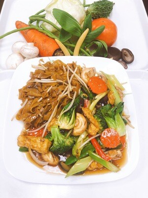 605- Stir Fried Vegetables, Mushrooms, and Tofu with Rice Noodles