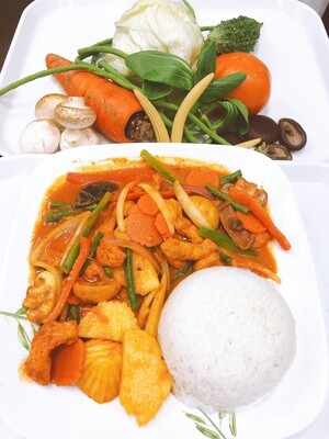 608- Red Curry with Vegetables, Mushrooms, and Tofu on Steamed Rice