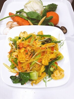610- Singapore's Style Stir Fried Vegetables, Tofu, Mushrooms Vermicelli with Egg
