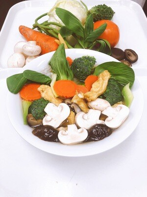 613- Vegetables, Mushroom, and Tofu with Thick Rice Noodle Soup