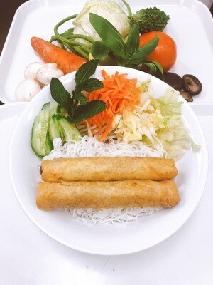 614- Vermicelli with Vegetarian Spring Rolls (2 Rolls)