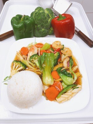 708- Stir Fried mix Vegetables with (Option) Served with Steamed Rice
