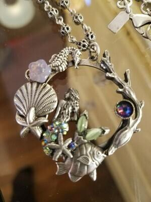 Mermaid Pewter Ocean themed Necklace(ON SALE Reg 102.95)