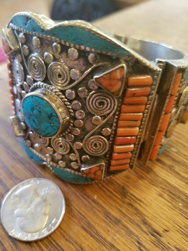 Tibetan Cuff Bracelet- Turquoise & Coral(ON SALE Reg $ 299.95)