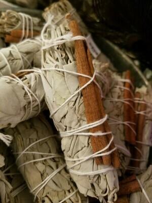 Smudge Bundle -Cinnamon & White Sage (1 bundle)  approx 4