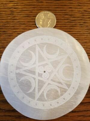 White Selenite Disc/Incense Burner
