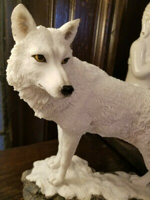 Wolf Statue White- Snowy Ground Cover
