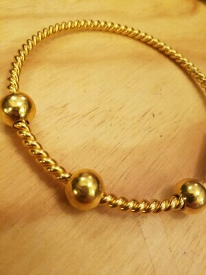 Sacred Geometry 1/2 Cubit (Lost) Tensor Ring -3 beads- Gold Plated