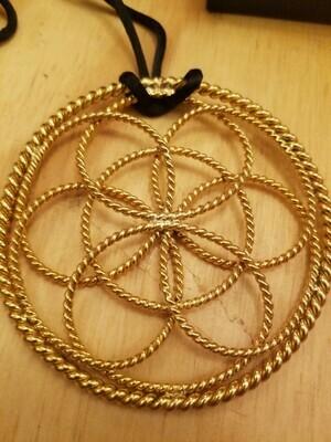 Sacred Geometry 1/2 Cubit (Sacred) Lotus Pendant -gold plated