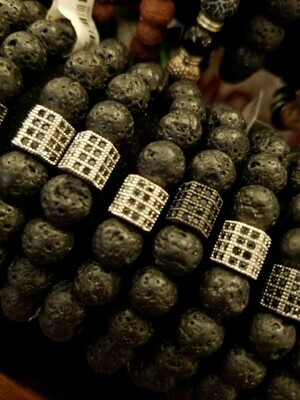 Bracelet lava stone & bling stretch (Use with essential oils)