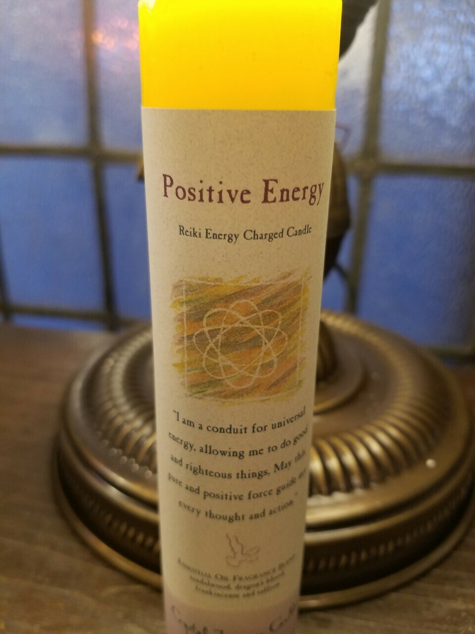 Candle Slim Pillar - Positive energy -Reiki Charged
