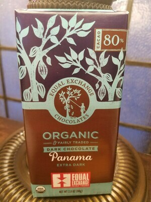 Chocolate Dark 80% Panama -Organic , Fair Trade-One Bar