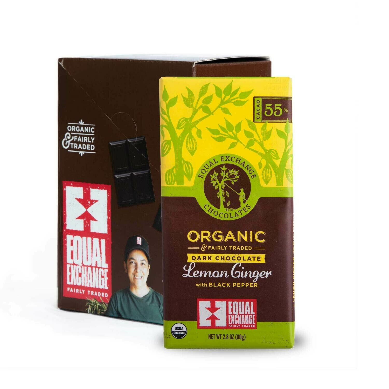 Chocolate Lemon/Ginger/Blk Pepper Dark 55%-Organic , Fair Trade ( One Bar)