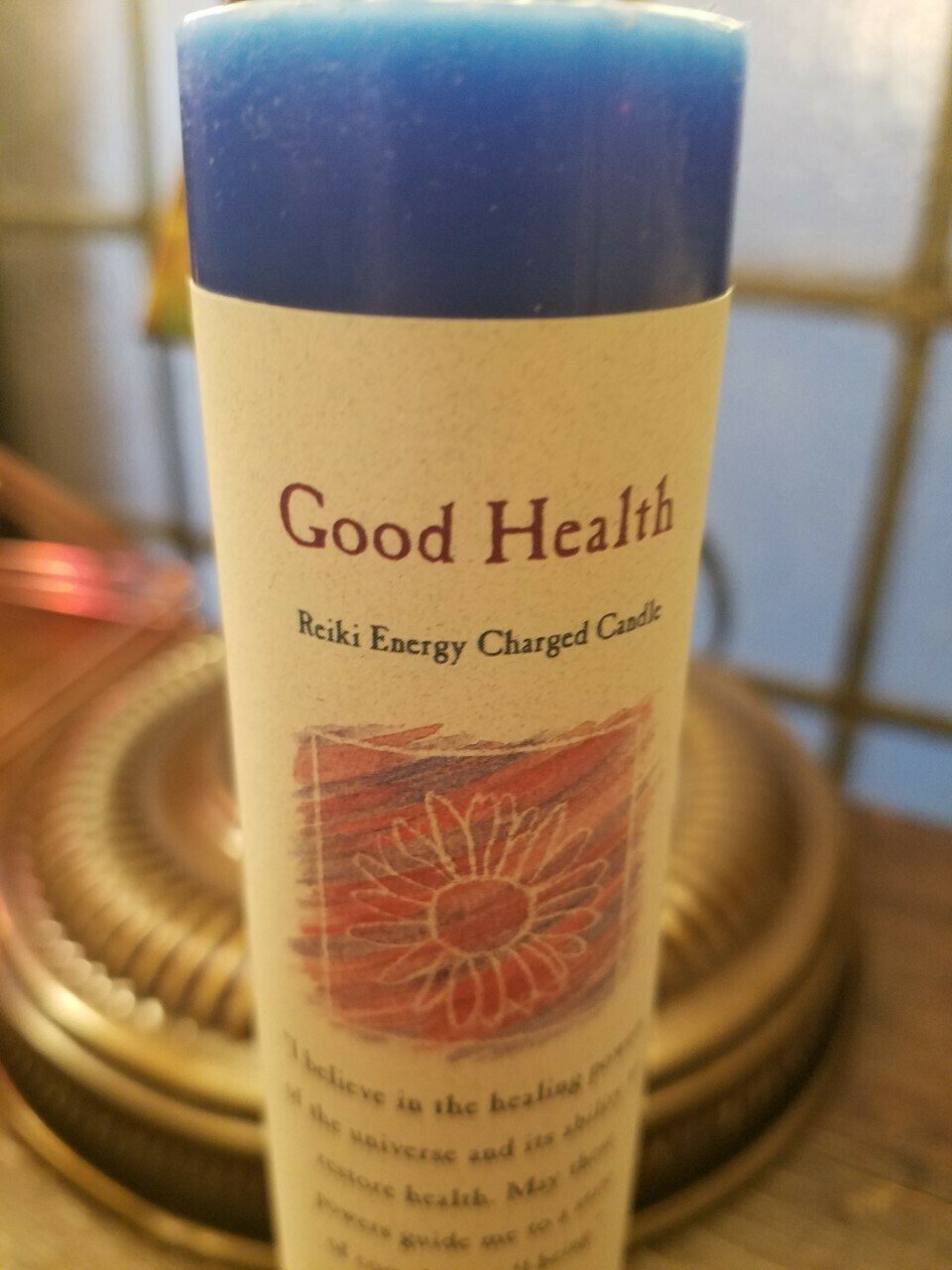 Candle Slim Pillar - Good Health -Reiki Charged