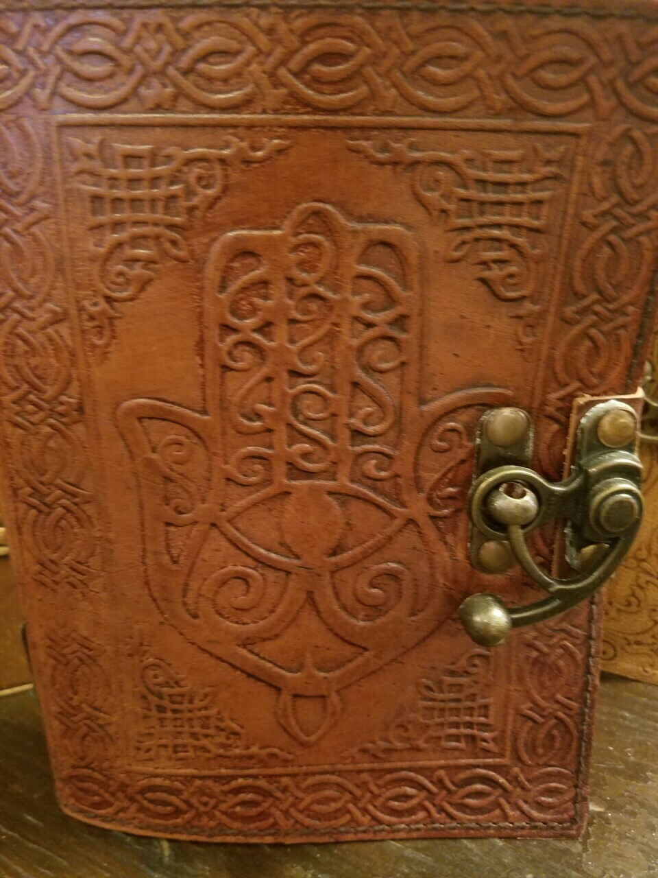 Journal Leather (India) Hamsa Design with Latch 5x7