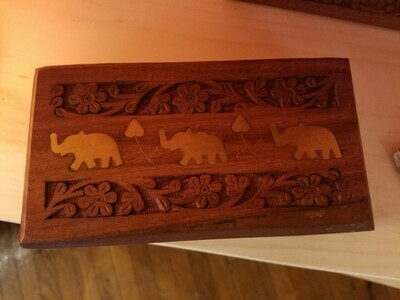 Wooden Box Elephant-(Medium) India