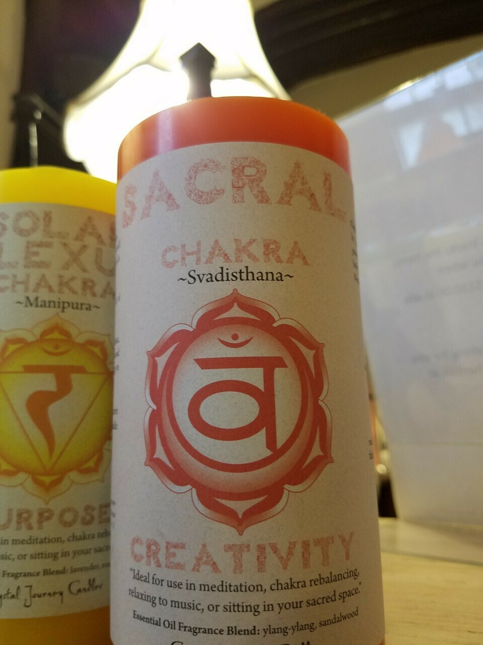 Candle 3x6 Pillar - Sacral chakra -Reiki Charged