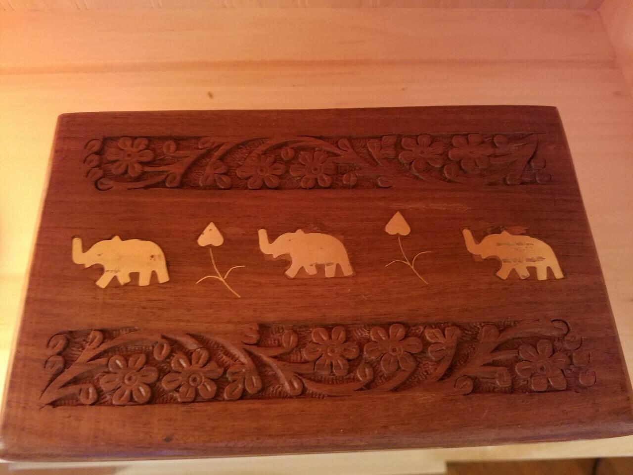 Wooden Box Elephant-(large) India
