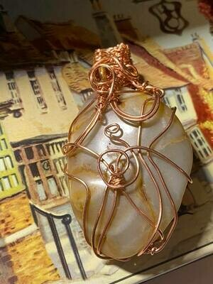 Another beauty!! Pendant ( Large) Agate in Copper - Handmade by Goddess Janelle(Shipping Included-see below)