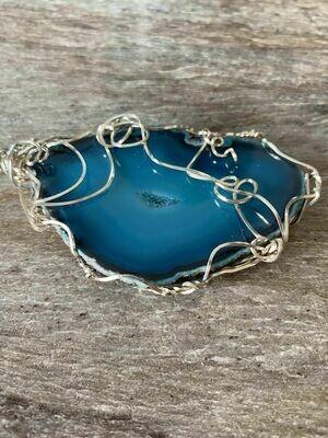 Pendant Aqua Agate Slice -Handmade by Goddess Janelle