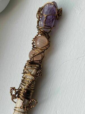 Wand- Amethyst/Moonstone/Newfoundland/Driftwood-Hand designed by Goddess Janelle.
