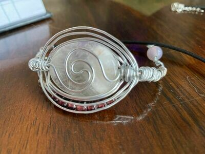 Bracelet-Clear Quartz Cab. & Amethyst Bead work -Handmade by Goddess Janelle
